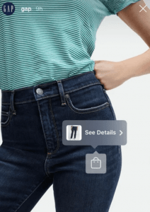 Example of shopping tab on social media for a pair of jeans