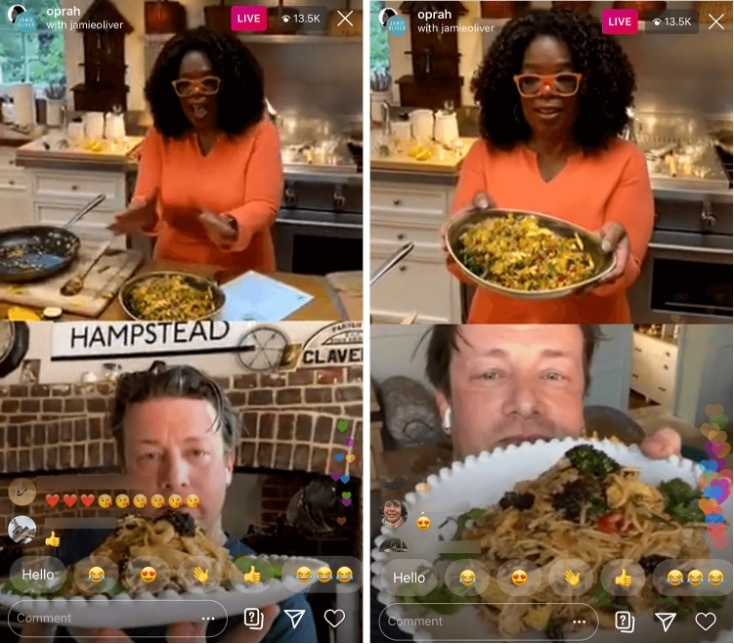 screenshot of Oprah going live on Instagram with Jamie Oliver